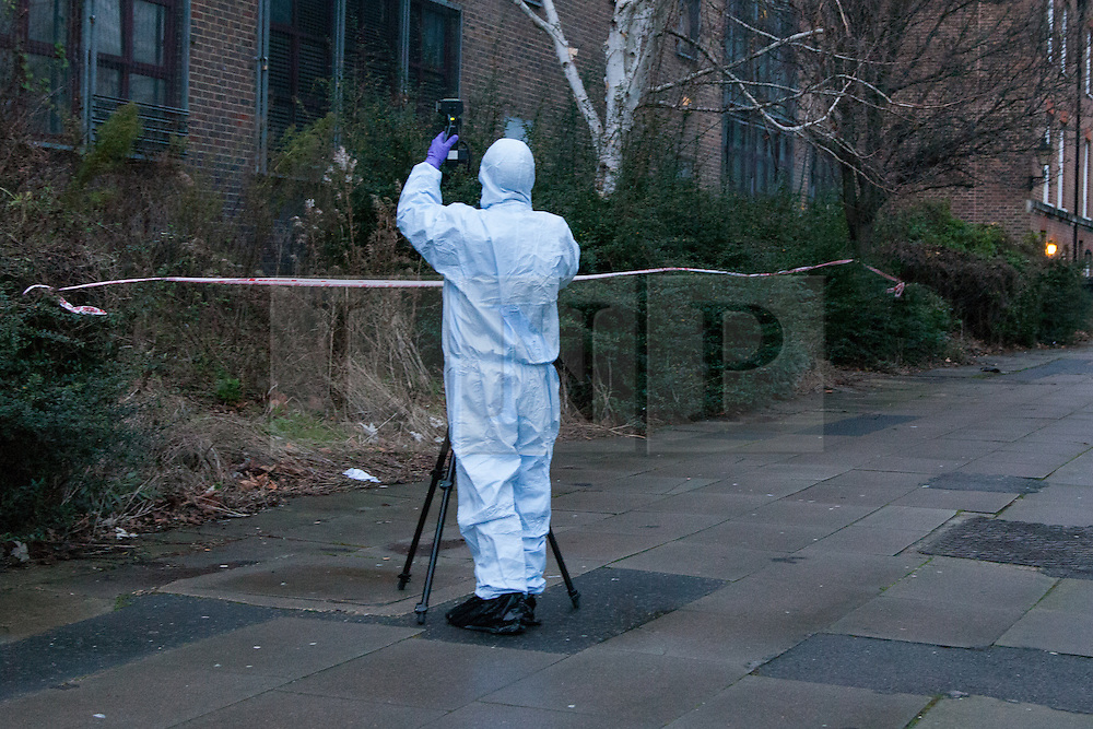 © Licensed to London News Pictures. 30/12/2012. London, UK. A member of the Metropolitan Police forensic team photographs bushes at the crime scene of a stabbing in Wapping Woods, East London where a woman was attacked on 29 December 2012. This is the second stabbing in Wapping Woods this month. Photo credit : Vickie Flores/LNP