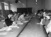 General Election Count.  ((N81)..1981..13.06.1981..06.13.1981..13th June 1981..After the general election voting was done and dusted, attention now swung to the various count centres throughout the country. Hopeful politicians,wellwishers and party tally men descended on the centres to see the counting take place and hope to glean their prospects or that of the parties...Image shows the count getting underway under the watchful eyes of the tallymen.