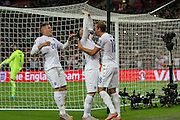 England's Wayne Rooney scores his 50th England goal  during the UEFA European 2016 Qualifying match between England and Switzerland at Wembley Stadium, London, England on 8 September 2015. Photo by Shane Healey.