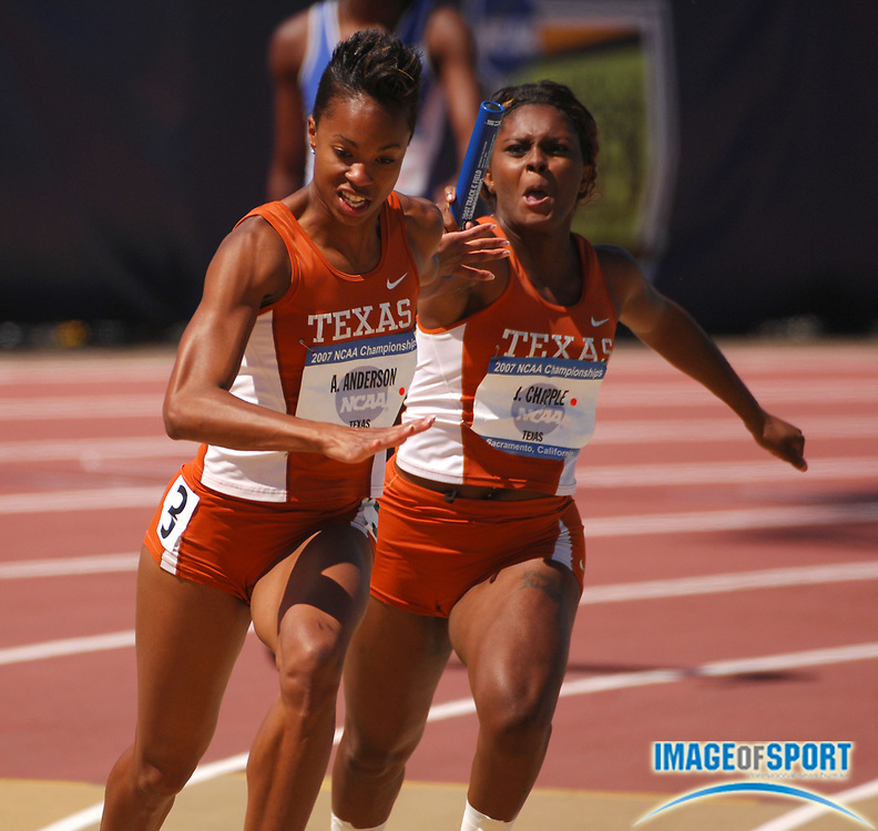 Alexandria Anderson of Texas takes handoff from Jerrika Chapple on the anchor of the Longhorns' heat-winning women's 4 x 100-meter relay that timed 44.08 in the NCAA Track & Field Championships at Sacramento State's Hornet Stadium in Sacramento, Calif. on Wednesday, June 6, 2007.