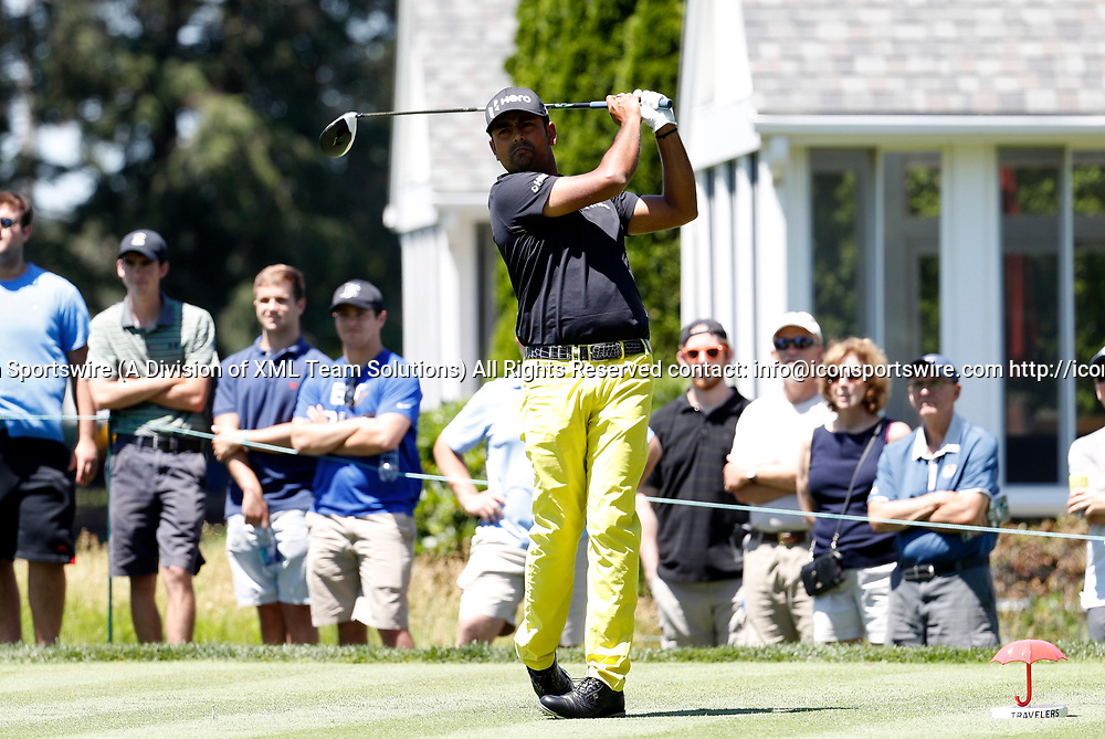 CROMWELL, CT - JUNE 24: Anirban Lahiri of India drives from the 6th tee during the third round of the Travelers Championship on June 24, 2017, at TPC River Highlands in Cromwell, Connecticut. (Photo by Fred Kfoury III/Icon Sportswire)