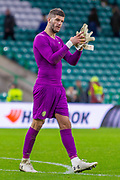 Celtic Keeper Fraser Forster (#67) applauds the fans during the Europa League match between Celtic and Rennes at Celtic Park, Glasgow, Scotland on 28 November 2019.