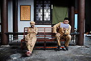 Hengdian World Studios,The film studio is the world's largest and features a 1:1 scale reproduction of the Forbidden City in Beijing. Actors prepare for the new scene.