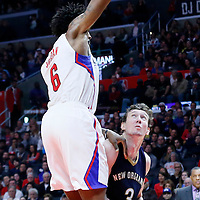 10 January 2016: Los Angeles Clippers center DeAndre Jordan (6) defends on New Orleans Pelicans center Omer Asik (3) during the Los Angeles Clippers 114-111 overtime victory over the New Orleans Pelicans, at the Staples Center, Los Angeles, California, USA.