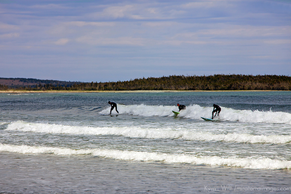 North America, Canada, Nova Scotia. Surfers at Martinique Beach on the Eastern Shore.