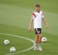 Thomas Muller of Germany during the Germany training session at the Est&aacute;dio S&atilde;o Janu&aacute;rio, Rio de Janeiro, ahead of tomorrow's World Cup Final. <br /> Picture by Andrew Tobin/Focus Images Ltd +44 7710 761829<br /> 12/07/2014