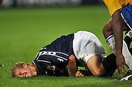 22-08-2008: Voetbal: RKC WAALWIJK:GO AHEAD EAGLES:WAALWIJK <br /> Benson (buiten beeld) maakt een zware overtreding op Droste die kermend van de pijn op de grond blijft liggen<br /> Foto: Geert van Erven