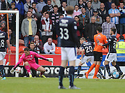 Dundee goalkeeper Kyle Letheren saves Dundee United's John Souttar's cheeky back heel - Dundee United v Dundee at Tannadice Park in the SPFL Premiership<br /> <br />  - © David Young - www.davidyoungphoto.co.uk - email: davidyoungphoto@gmail.com