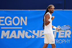 Dustin Brown of Germany celebrates  - Mandatory by-line: Matt McNulty/JMP - 05/06/2016 - TENNIS - Northern Tennis Club - Manchester, United Kingdom - AEGON Manchester Trophy