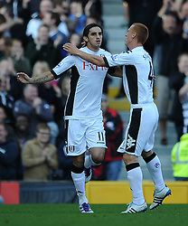 23.10.2011, Craven Cottage, London, ENG, PL, FC Fulham vs FC Everton, im Bild Fulham's Bryan Ruiz celebrates scoring the equaliser // during the Premier League match between FC Fulham vs FC Everton, at Craven Cottage stadium, London, United Kingdom on 23/10/2011. EXPA Pictures © 2011, PhotoCredit: EXPA/ Propaganda Photo/ Chris Brunskill +++++ ATTENTION - OUT OF ENGLAND/GBR+++++