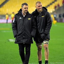 Hurricanes chief executive Avan Lee with Brad Shields after the 2017 DHL Lions Series rugby match between the Hurricanes and British & Irish Lions at Westpac Stadium in Wellington, New Zealand on Tuesday, 27 June 2017. Photo: Dave Lintott / lintottphoto.co.nz