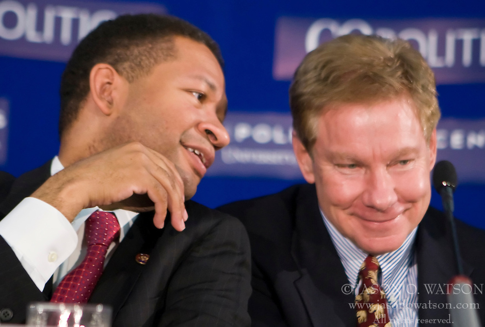 Artur Davis (D-AL), Congressman for the 7th district of Alabama and Tom Davis (R-VA), Congressman for the 11th district of Virginia participates in the second panel. The U.Va. Center for Politics and CQ Politics hosted the 10th Annual American Democracy Conference at Alumni Hall on the Grounds of the University of Virginia in Charlottesville, VA on November 21, 2008.