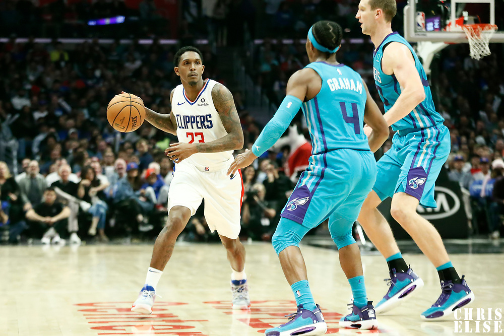 LOS ANGELES, CA - OCT 28: Lou Williams (23) of the LA Clippers passes the ball during a game on October 28, 2019 at the Staples Center, in Los Angeles, California.