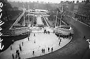 11/04/1966<br /> 04/11/1966<br /> 11 April 1966<br /> 1916 Jubilee Commemorations- Opening and Blessing Ceremony at the Garden of Remembrance, Parnell Square, Dublin. Image shows a view of the Garden and the ceremony. On right is the National Ballroom.