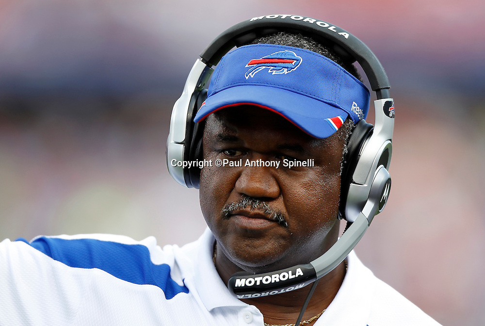 Buffalo Bills wide receivers coach Stan Hixon looks on during the NFL week 3 football game against the New England Patriots on Sunday, September 25, 2011 in Orchard Park, New York. The Bills won the game 34-31. ©Paul Anthony Spinelli