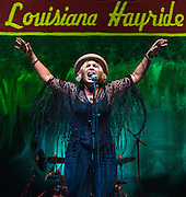 Maggie Koerner performs during the Louisiana Hayride All-Star Bicentennial Birthday Bash at Municipal Auditorium in Shreveport, Louisiana