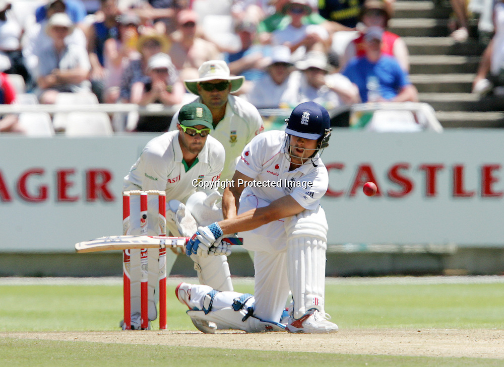 Alastair Cook reverse sweeps Paul Harris and gets it all wrong  during the 2nd day of the third test match between South Africa and England held at Newlands Cricket Ground in Cape Town on the 4th January 2010.Photo by: Ron Gaunt/ SPORTZPICS