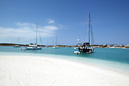 Boats at anchor in Hole One near Stocking Island in the Bahamas.