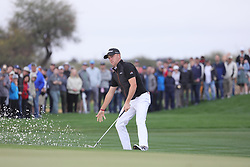 February 3, 2019 - Scottsdale, AZ, U.S. - SCOTTSDALE, AZ - FEBRUARY 03: Justin Thomas blasts out of the ninth hole bunker and across the green at the final round of the Waste Management Phoenix Open on February 3, 2019, at TPC Scottsdale in Scottsdale, Arizona.  (Photo by Will Powers/Icon Sportswire) (Credit Image: © Will Powers/Icon SMI via ZUMA Press)