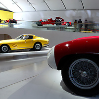 Ferrari 275 GTB4 (back) and Ferrari 857S (front nose) at Museo Casa Enzo Ferrari, 2014