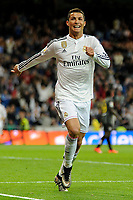 Real Madrid´s Cristiano Ronaldo celebrates a goal during 2014-15 La Liga match between Real Madrid and Malaga at Santiago Bernabeu stadium in Madrid, Spain. April 18, 2015. (ALTERPHOTOS/Luis Fernandez)