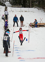 Phoenix Beaulieu U10 Gunstock Nordic Association goes off the K7 jump during GNA's ski jump meet on Saturday morning.  (Karen Bobotas/for the Laconia Daily Sun)
