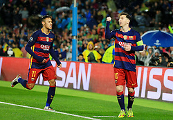 Lionel Messi of Barcelona celebrates after scoring his sides third goal  - Mandatory byline: Matt McNulty/JMP - 16/03/2016 - FOOTBALL - Nou Camp - Barcelona,  - FC Barcelona v Arsenal - Champions League - Round of 16