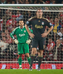 LONDON, ENGLAND - Wednesday, October 28, 2009: Liverpool's goalkeeper Diego Cavalieri looks dejected after Arsenal score the second goal during the League Cup 4th Round match at Emirates Stadium. (Photo by David Rawcliffe/Propaganda)