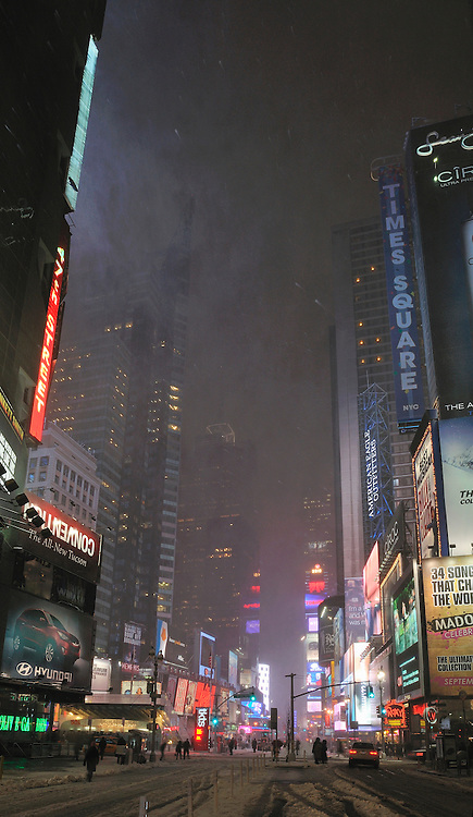 Snow on Time Square