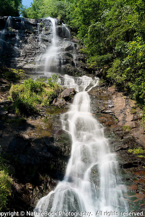 The water falls a long way down Amicalola Falls in northeast Georgia.