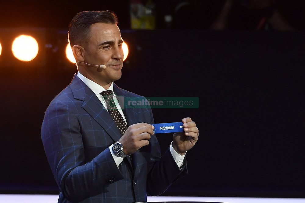 December 1, 2017 - Moscow, RUSSIA - Former Italian soccer player Fabio Cannavaro shows Panama for group G during the draw for the 2018 World Cup soccer in Moscow, with Belgium team in pot one, Russia, Friday 01 December 2017...BELGA PHOTO DIRK WAEM (Credit Image: © Dirk Waem/Belga via ZUMA Press)