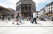Battistero in Piazza San Giovanni with tourists Florence Italy