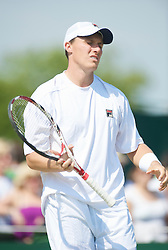 LONDON, ENGLAND - Thursday, June 25, 2009: Kenneth Skupski (GBR) looks dejected after losing an epic five set battle 7-6 (4), 7-6 (5), 6-7 (5), 4-6, 4-6 lasting three hours forty minutes during the Gentlemen's Doubles 1st Round match on day four of the Wimbledon Lawn Tennis Championships at the All England Lawn Tennis and Croquet Club. (Pic by David Rawcliffe/Propaganda)
