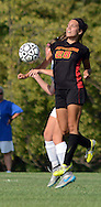 Gwynedd Mercy Academy's Emilee Desmond #28 goes up in the air for the soccer ball as Villa Joseph Marie's Eva Ruppersberger defends in the first half of a girls soccer game at Villa Joseph Marie Tuesday September 8, 2015 in Richboro, Pennsylvania.  (Photo by William Thomas Cain)