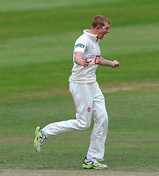 Sussex's Luke Wells celebrates the wicket of Somerset's Tom Abell - Photo mandatory by-line: Harry Trump/JMP - Mobile: 07966 386802 - 08/07/15 - SPORT - CRICKET - LVCC - County Championship Division One - Somerset v Sussex- Day Four - The County Ground, Taunton, England.
