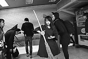 Japan,  Tokyo, 1 November 2016. Halloween in Tokyo, participants get into the subway station.