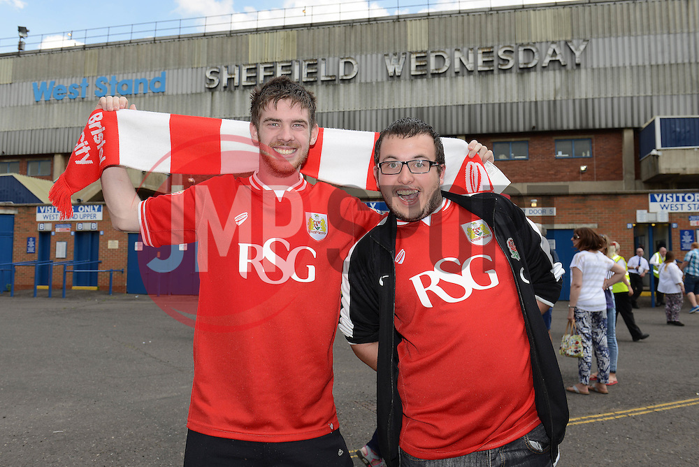Bristol City fans pose for a photo outside Hillsborough Stadium before the game between Sheffield Wednesday and Bristol City - Mandatory byline: Dougie Allward/JMP - 07966386802 - 08/08/2015 - FOOTBALL - Hillsborough Stadium -Sheffield,England - Sheffield Wednesday v Bristol City - Sky Bet Championship