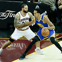 09 June 2017: Cleveland Cavaliers guard Deron Williams (31) defends on Golden State Warriors guard Shaun Livingston (34) during the Cleveland Cavaliers 137-11 victory over the Golden State Warriors, in game 4 of the 2017 NBA Finals, at  the Quicken Loans Arena, Cleveland, Ohio, USA.