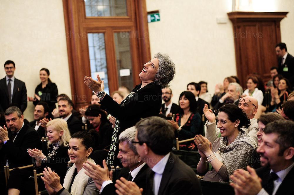 Paola Concia, PD, applaude durante una conferenza <br /> Roma, 17 maggio  2013. Daniele Stefanini /  Oneshot