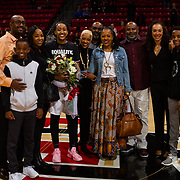 24 February 2018: The San Diego State women's basketball team closes out it's home schedule of the regular season Saturday afternoon against San Jose State. San Diego State Aztecs guard Cheyenne Greenhouse (30) seen her in a senior ceremony prior to taking on San Jose State. At halftime the Aztecs lead the Spartans 36-33 at Viejas Arena.<br /> More game action at sdsuaztecphotos.com