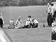 Defence Secretary John Nott and family ( & security)  having a picnic. June 4 Eton. 1982.  ( ( 'Pass the Port, Stanley' ) © Copyright Photograph by Dafydd Jones 66 Stockwell Park Rd. London SW9 0DA Tel 020 7733 0108 www.dafjones.com