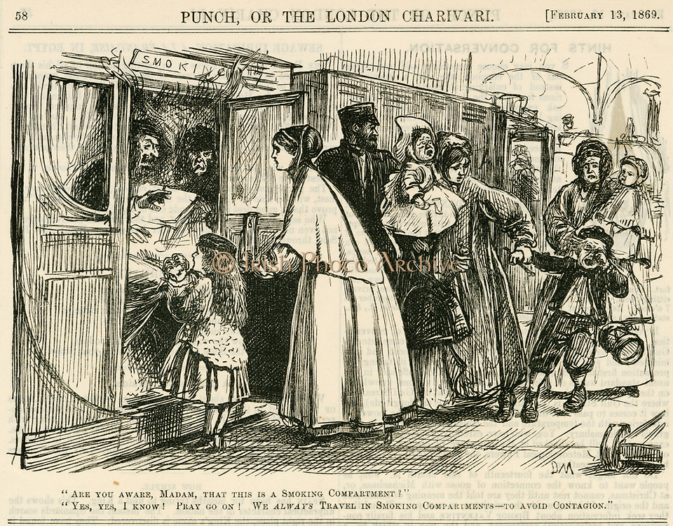 'Women and children invading smoking carriages as  it was thought that tobacco smoke prevented the spread of contagious diseases such as Cholera.  Cartoon by George du Maurier from ''Punch'', ondon, 1869.'