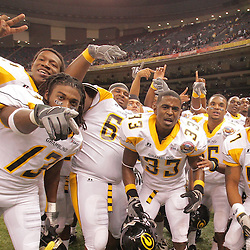 2008 November, 29: Grambling State players celebrate on the field following a 29-14 win over Southern University during the 35th annual State Farm Bayou Classic at the Louisiana Superdome in New Orleans, LA.  .