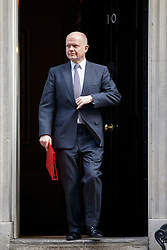© licensed to London News Pictures. London, UK 18/03/2015. Leader of the Commons William Hague attending to a cabinet meeting in Downing Street on the Budget Day, Wednesday, 18 March 2015. Photo credit: Tolga Akmen/LNP