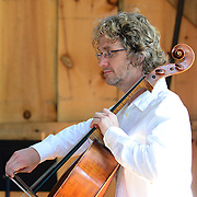 Eric Dahlin, of The Arensky Ensemble performing in the barn at Moffatt-Ladd House in Portsmouth, NH. July 2012
