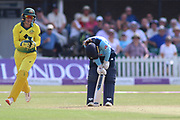 Tammy Beaumont of England (12) is bowled out during the Royal London Women's One Day International match between England Women Cricket and Australia at the Fischer County Ground, Grace Road, Leicester, United Kingdom on 4 July 2019.