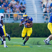 Running back Andrew Pierce #30 carries the ball up the middle of the field during a Week 2 NCAA football game against Westchester in the second quarter...#8 Delaware defeated Westchester 28-17  in their home opener at Delaware Stadium Saturday Sept. 10, 2011 in Newark DE...Delaware will return home Sept. 17, 2011 for a showdown with interstate Rival Delaware State at 6:pm at Delaware Stadium. (Monsterphoto/Saquan Stimpson)
