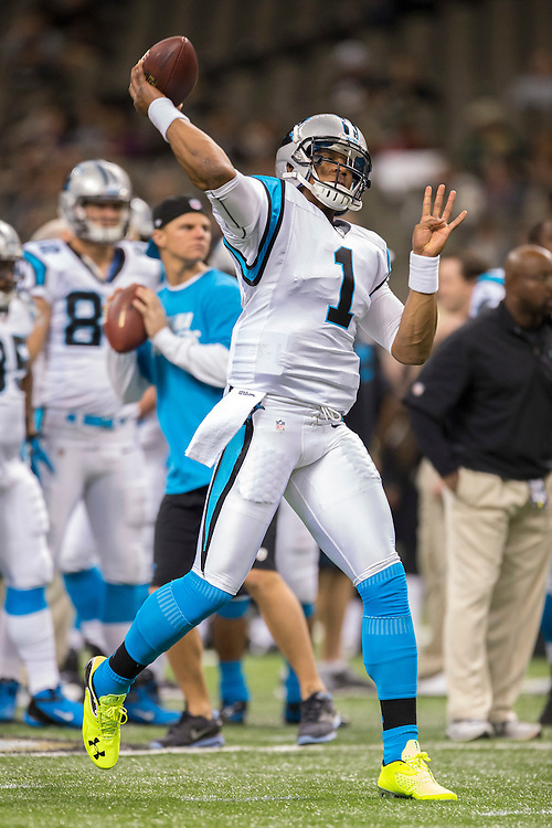 NEW ORLEANS, LA - DECEMBER 30:  Cam Newton #1 of the Carolina Panthers warming up before a game against the New Orleans Saints at Mercedes-Benz Superdome on December 30, 2012 in New Orleans, Louisiana.  The Panthers defeated the Saints 44-38.  (Photo by Wesley Hitt/Getty Images) *** Local Caption *** Cam Newton