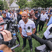 Former New York Yankees All-Star pitcher Mariano Rivera (CENTER) interviews with local press during a backpack give-away sponsored by Mariano&quot; organization &quot;The Mariano Rivera Public Foundation&quot; Monday, August. 14 2017, at Rodney Square in Wilmington Delaware.<br /> <br /> More than 1,500 backpacks filled with back-to-school supplies was given to children in grades K through 5th grade.