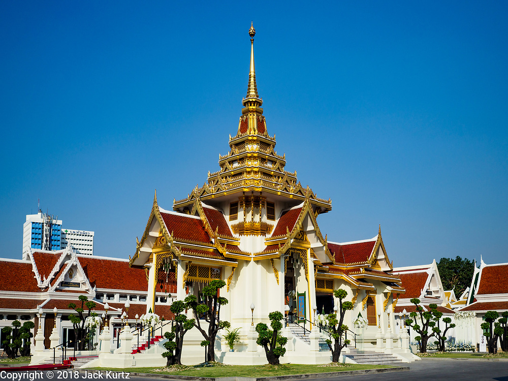 03 NOVEMBER 2018 - BANGKOK, THAILAND:  the crematorium at Wat Debsirin on the first day of funeral rites for Vichai. Vichai was the owner of King Power, a Thai duty free conglomerate, and the Leicester City Club, a British Premier League football (soccer) team. He died in a helicopter crash at the King Power stadium in Leicester after a match on October 27. Vichai was Thailand's 5th richest man. The funeral is expected to last one week.   PHOTO BY JACK KURTZ